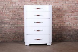 Widdicomb Art Deco White Lacquered Highboy Dresser, Newly Refinished
