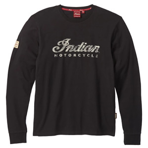 INDIAN MOTORCYCLE MENS SCRIPT LOGO LONG SLEEVE T SHIRT, BLACK sizes M L XL 2X 3X