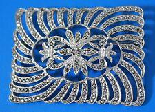 Antique Vintage Sterling Silver 925 Marcasites Art Deco Brooch Pin Signed