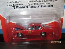CMW red chevy IMPALA FIRE CHIEF CAR 1/87 HO OPENING HOOD-1978-red built 4 layout