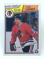 1983-84 Steve Larmer #105 R Wing Chicago Black Hawks O-Pee-Chee Hockey Card G898