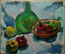 Russian Ukrainian Soviet Oil Painting Still Life impressionism fruit pomegranate