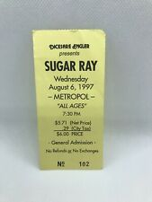 1997 Sugar Ray Concert Ticket Stub August 6th, Pittsburgh, Pa