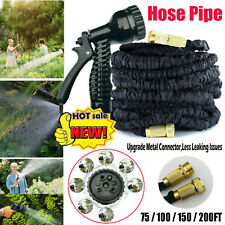 EXPANDABLE GARDEN HOSE FLEXIBLE 75-200FT PIPE EXPANDING WITH SPRAY GUN BLACK NEW