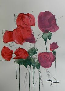 JOSE TRUJILLO ACRYLIC PAINTING ABSTRACT Floral Red Roses Bouquet MODERN ART COA