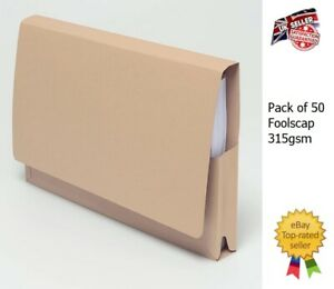 50 Guildhall Document Wallets Folders 315gsm Foolscap Pocket legal Files Buff
