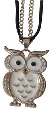 Necklace, pendant pattern owl steel golden and white