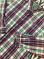 Coogi Classic Purple  Green Striped Long Sleeve Button Front Shirt Mens XL