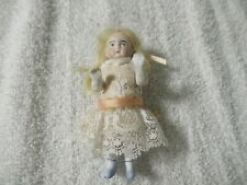 """Vintage 3-1/2"""" German Bisque Doll With Moveable Arms And Lace Clothing"""