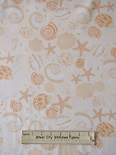 Sea Shell Starfish Cotton Fabric Benertex Neptunes Dream #05973 Peach Cream 30""