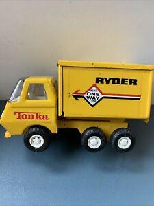 "1970's Tonka Pressed Steel Ryder Moving Box Truck Van Rental w/ Dump Box - 5"""