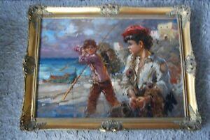 "20th/C Portrait Painting ""The Fisher Boys"" by Nino Salvadori Esposito"