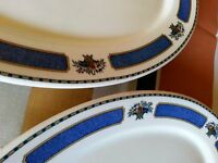 2 Rare ANTIQUE O.P Co SYRACUSE CHINA MERIDALE OVAL PLATTERS  RESTAURANT WARE