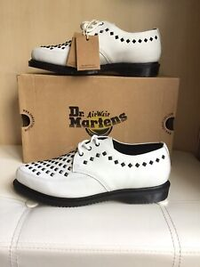 Dr Martens white smooth leather Willis stud creepers UK7 EU 41 BNIB RRP £140.00