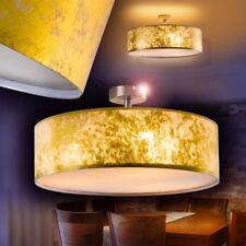 Lámpara de techo metal tambor textil color dorado Ø50 comedor dormitorio pasillo