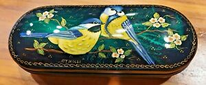 Glasses Case with a Hand Painted Picture on the lid of A Pair Of Blue Tits New