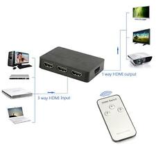 1080P 3 In 1 Out 3 Port HDMI Switch Switcher Splitter Hub&IR Remote For HDTV PS3