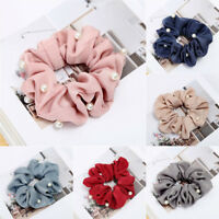 Women's Pearl Bow Hair Tie Elastic Ring Rope Band Hair Accessories Scrunchies