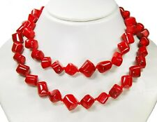 Stylish Precious Stone Necklace in Coral Diagonal Strands Individually Knotted