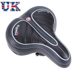 Wide Big Bum Bike Bicycle Gel Cruiser Extra Sporty Soft Pad Saddle Seat Black UK