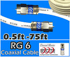 RG6 PCT F White Coaxial Coax 0.5 - 75 Ft Cable Wire Satellite HD Antenna TV lot