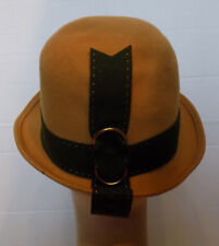 Vintage Camel Wool Felt Hat Dark Green Felt Trim Henry Pollak