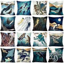 """Ocean Coastal PILLOW COVER Teal Blue Sea Whale Home Decor Cushion Case 17x17"""" US"""