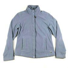 BMW Womens S Sky Baby Blue Soft Poly Fleece Mock Neck Full Zip Jacket