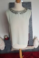 TOPSHOP ~ PALE GREEN  DRESSY TOP WITH SILVER BEADED COLLARED NECKLINE ~ UK 12