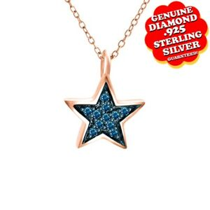 14K Rose Gold Over Blue Natural Diamond Accent STAR Shape Pendant With Chain
