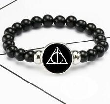 Harry Potter Deathly Hallows Photo Glass Noosa Snap Chunk Elastic Beads Bracelet