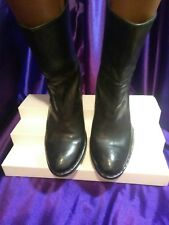 FRYE WOMEN'S LUCINDA SHORT PULL ON ANKLE BOOTS BLACK LEATHER SZ 9M GOOD CONDITIO