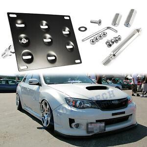 For Subaru WRX STi 2008-2014 Tow License Plate Mount Bracket Drilled Kit Black