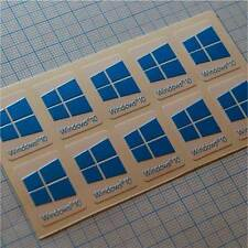 10 x Windows 10 autocollant, sticker,  étiquette pour ordinateur portable (cyan)