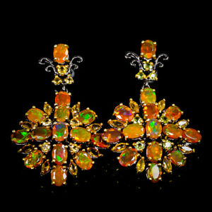 Natural Orange Opal Earrings Silver 925 Sterling Rainbow SET7x5mm  /E39590