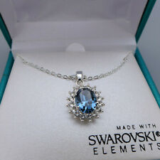 NIB Shine Silver Plated Pendant Necklace Made With Swarovski Elements