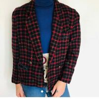 Vintage 90s wool tartan cropped blazer plaid check navy red jacket Medium