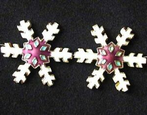 2 White Mulberry Cloisonne 30x27mm Snowflake Focal Beads 8638F