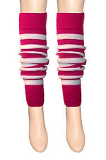 Girls Teen 80's Dance Plain Ribbed Leg Warmers Women Legwarmer Fancy Dress Tutu Pink and White Stripe