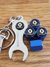 RENAULT BLUE DUST VALVE CAPS & CHROME SPANNER ALL MODELS RETAIL PACK SCENIC