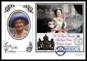 DOMINICA - 1999 Queen Mother M/S First Day Cover + Roseau Dominica FDI H/S #1