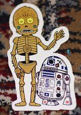 "STAR WARS DROIDS C3PO R2D2 MUERTO Sticker Print 2.25 X 4"" DIA DE LOS JOSE PULIDO"