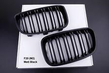 NEW MATT BLACK FRONT KIDNEY GRILLS for BMW F20 F21 1 SERIES TWIN SLAT 1M STYLE