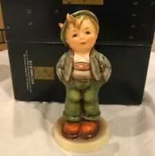 """New ListingHummel Goebel """"Hello World"""" - Happy Boy with Hands in Pockets - 5 ½"""" Tall - Mint"""