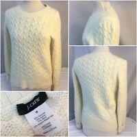 J. Crew Sweater M Ivory Viscose Nylon Wool Angora Crew Cable Mint YGI B8-403