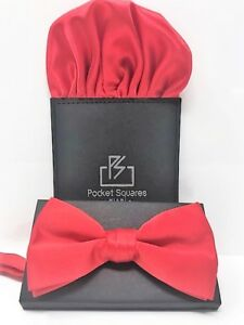 Mens Bow Tie Pocket Square Set Butterfly Pre Tied For Wedding Prom Party