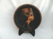 Egyptian Copper Decor Plate Queen Nefertiti High Quality 7.75