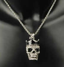 Collar Esqueleto Cabeza MUERTE CORONA Estrás Plata Horro HALLOWEEN UNISEX