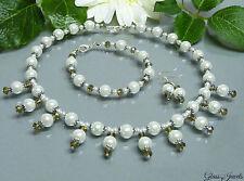 Glass Jewels Silber Schmuckset Brautschmuckset Perlencollier Weiß Grau  #E002