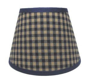 Country Primitive Navy Medium Check Homespun Fabric Lampshade Lamp Shade